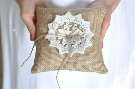 Burlap Ring Pillow by Burlap Ring Pillow Burlap Ring Bearer Pillow With White Cotton