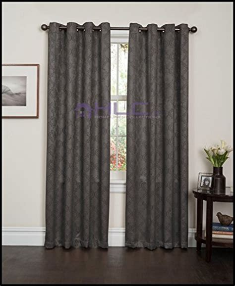 hlc me redmont lattice wide width thermal blackout grommet curtain panel 96 quot inch long grey be
