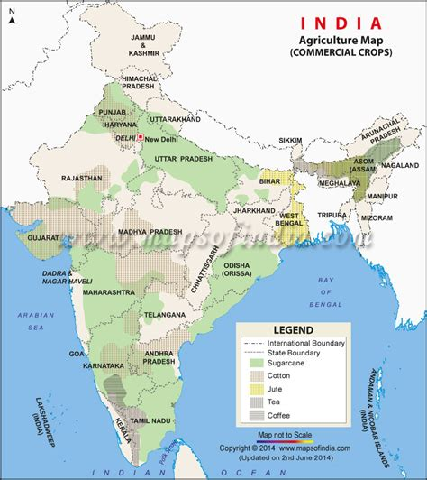 Commercial crops in India, Commercial crops map of india