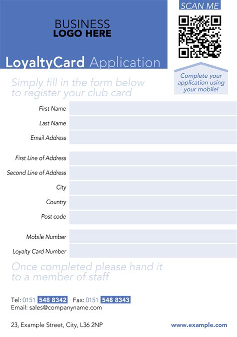loyalty card application form template smart loyalty card system 49 business in the black