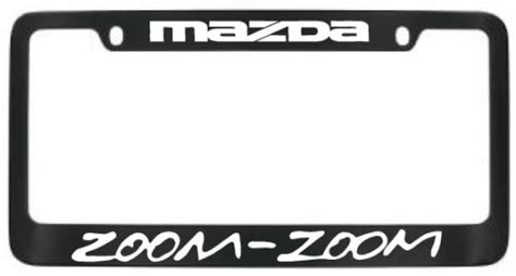 mazda zoom zoom black license plate frame with white