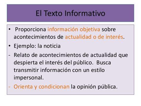 ejemplo de texto informativo el texto informativo