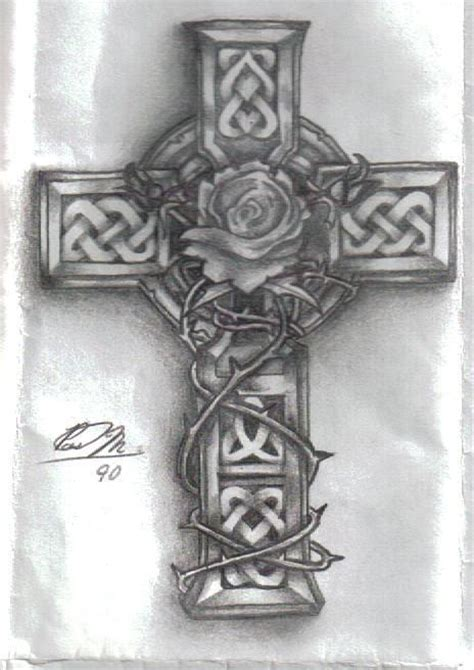 celtic cross with rose tattoo cross with vines celtic cross with in