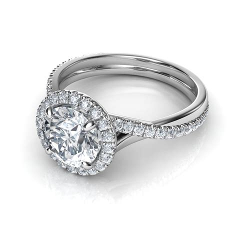 Pave Ring by Pave Halo Twisted Shank Engagement Ring