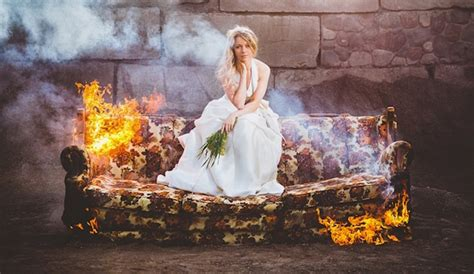 couch burning tradition bridal photos on a burning couch make a statement about