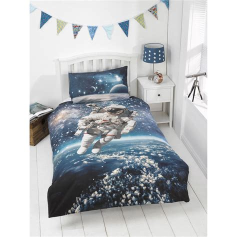 kids glow   dark single duvet set space walker