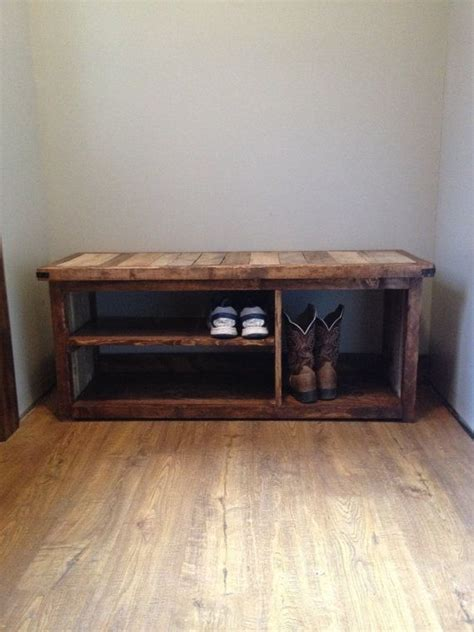 front door shoe storage bench rustic shoe bench by woodlandrustic on etsy for our home