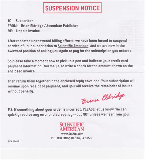 Service Suspension Letter Suspension Notice