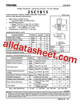 c1815 transistor uses c1815 datasheet pdf toshiba semiconductor