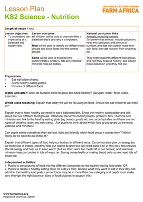 carbohydrates ks2 science ks2 nutrition by farm africa teaching resources