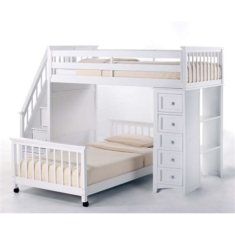 Bunk Bed With Loft Ne Schoolhouse Stairway Loft Bed With Chest End White Bunk Beds Loft Beds At Hayneedle