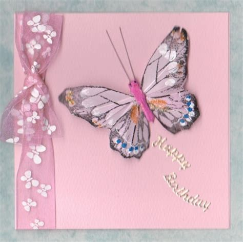 Handmade Butterfly Cards - handmade birthday card feather butterfly card pink