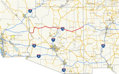 map us route 40 interstate 40 in arizona
