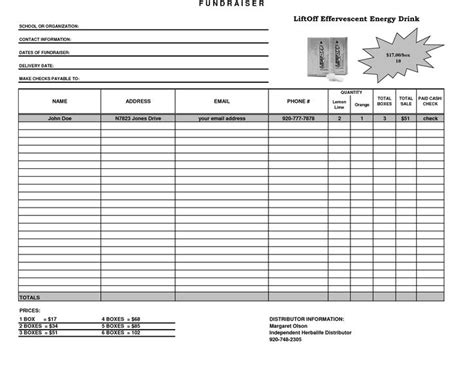 scout order form template fundraiser template excel fundraiser order form template