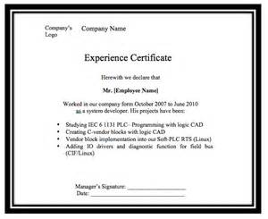 template of experience certificate letter format 187 experience letter format sle free