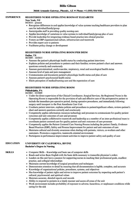 operating room nurse resume examples emergency rn job description