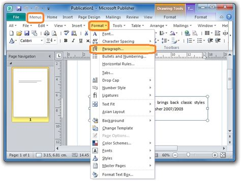publishing layout view word 2013 where is line spacing in microsoft publisher 2010 2013