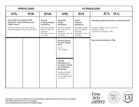 Cal State La Academic Calendar Cal State La Arts Gallery California State