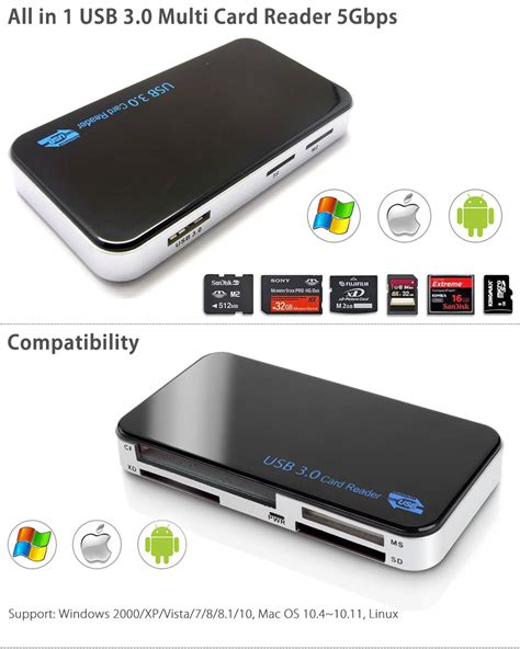 Multifunction Usb 3 0 Microsd Sd Card Reader Black T3010 1 usb 3 0 all in 1 compact flash multi card reader cf