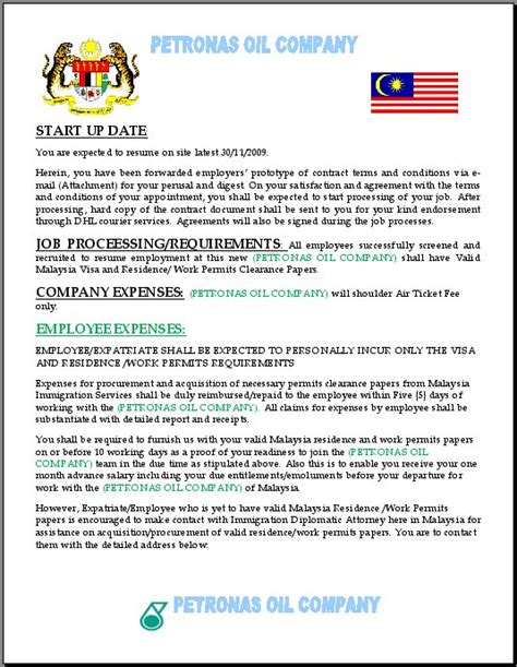 Employment Letter Of Offer Malaysia Petronas Name Being Used On Offer Scam It S All In The Planning