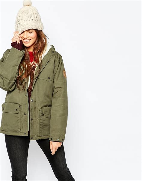 Kalung Fashion Nk 166 09 fjallraven hooded parka coat with faux shearling lining in green lyst