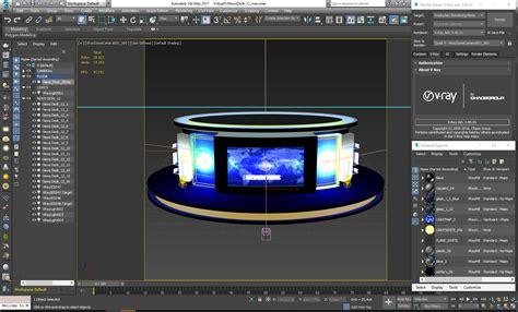 News Studio Desk by Tv Studio News Desk 12 3d Model Furniture 3d