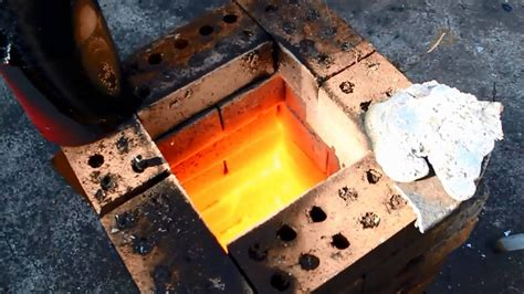 steel melt in home brick furnace