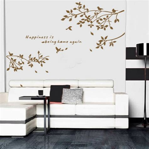 Wall Stiker 60x90 Ay803b Black Tree With Frame black removable tree branches birds vinyl wall sticker decor decal living room