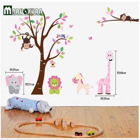 Wallsticker Wallstiker Animal Paradise Wall Paper Sticker Stiker jungle animals tree monkey wall sticker for rooms child diy stickers wall decals