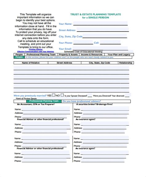 Will And Estate Planning Template 7 Estate Plan Templates Sle Templates