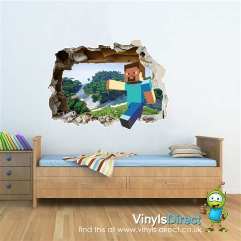 minecraft bedroom decals minecraft wall steve breakout scene pvc decal wall sticker