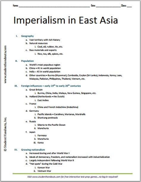imperialism in africa worksheet imperialism in east asia free printable world history outline