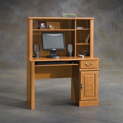 solid wood computer desk with hutch sauder harvest mill