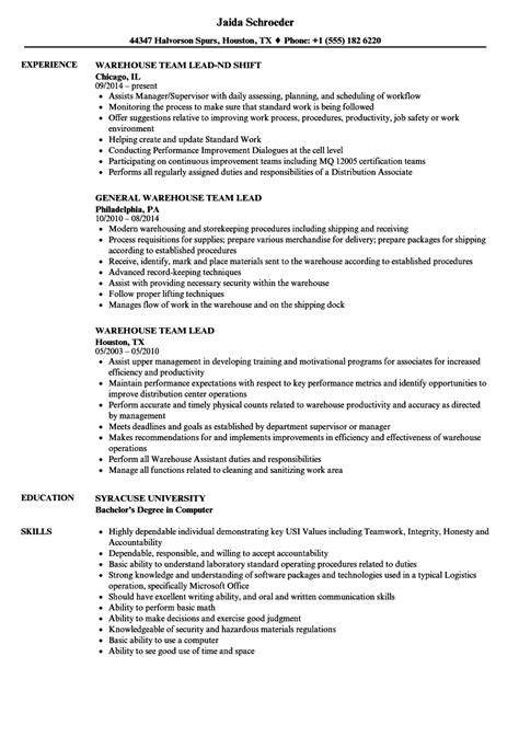 outstanding warehouse resume sle outstanding lead resume pattern resume exles by industry title retas info