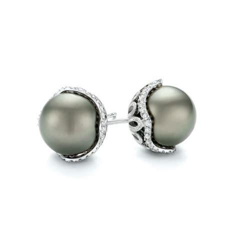 black tahitian pearl and earring studs 103608