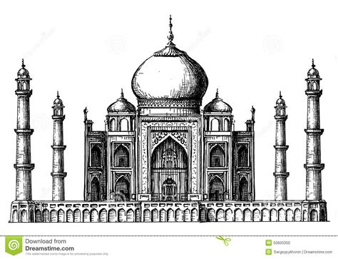 taj mahal logo design template india or hindu stock