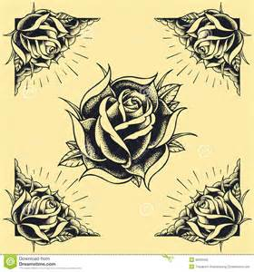 roses and frame tattoo style design set 02 royalty free