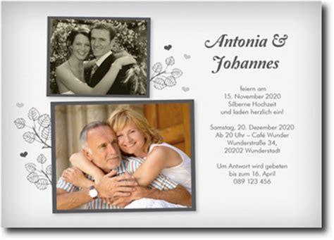 Einladungskarten Silberhochzeit by Silberhochzeit Einladungskarten Mit Foto Selber Gestalten