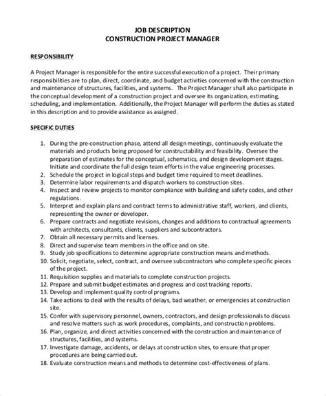 project coordinator description template 8 construction project manager description sles