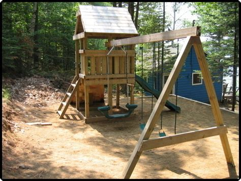 build a wooden swing set build a playset fort playhouse swingset wood plans easy