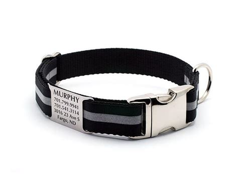 collar with nameplate black reflective collar with built in personalized nameplate flying collars