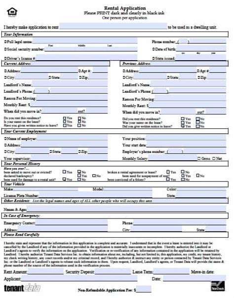 Free Kansas Rental Application Form Pdf Template Rental Application Template Word