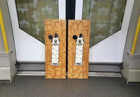 loving disney stencil street art  berlin mickey mouse