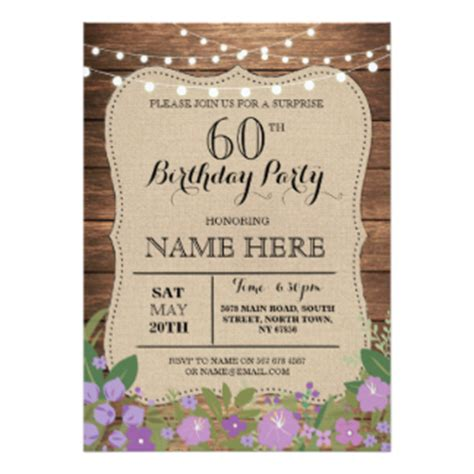 menu for 60 year olds 60th birthday invitations zazzle