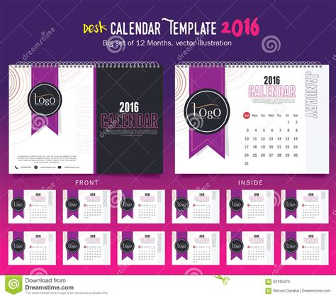 design table calendar 2016 desk calendar 2016 vector design template big set of 12