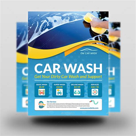 Car Wash Services Advertising Bundle Template By Owpictures Graphicriver Car Wash Poster Template