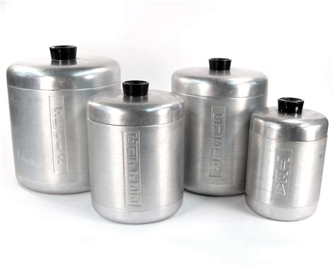 Canisters Kitchen Decor Vintage Kitchen Canister Set Aluminum 1940 Kitchen Decor
