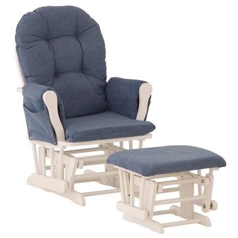 white glider with ottoman custom glider and ottoman in white and denim 06550 621