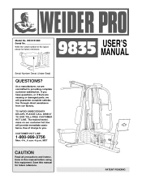 weider pro 9930 home manual version free
