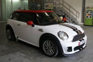 mini cooper s white matte and black stripes foilacar